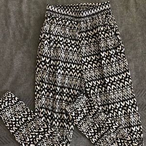 H&M Black and White Harem Party Pants